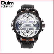 Marca oulm Mens relojes de primeras marcas de lujo del cuarzo hombre reloj Casual banda de cuero reloj de pulsera reloj militar Relogio hombre