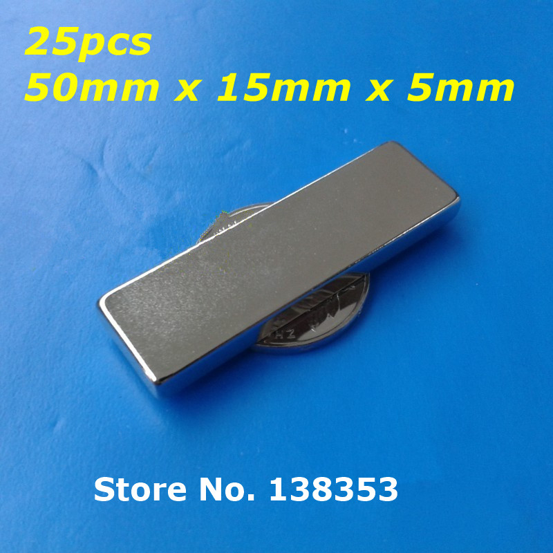 Wholesale 25pcs Super Strong Neodymium Rectangle Block Magnets 50mm x 15mm x 5mm N35 Rare Earth NdFeB Cuboid Magnet<br><br>Aliexpress