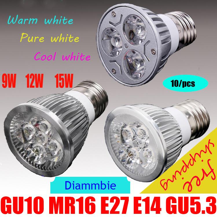 10pcs/lot High power CREE Led Lamp Dimmable GU10 MR16 E27 E14 GU5.3 9W 12W 15W Led spot Light Spotlight led bulb(China (Mainland))