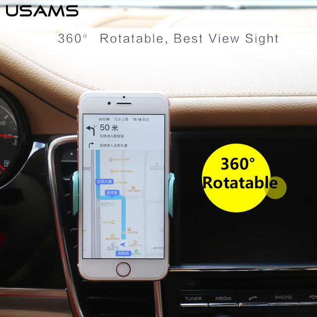 USAMS car mobile phone holder for iphone Car Air Vent Mount Holder 360 Degree Ratotable Soporte Phone Stand under 6'' phone