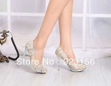 Free shipping new lace flower crystal gold or red fashion women stiletto high heel wedding shoes bride shoes(China (Mainland))