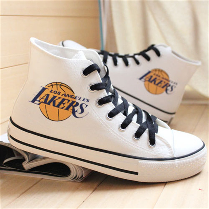 Kobe Bryant canvas shoes students graffiti hand-painted women shoes team logo casual shoes breathable zapatos mujer espadrilles(China (Mainland))