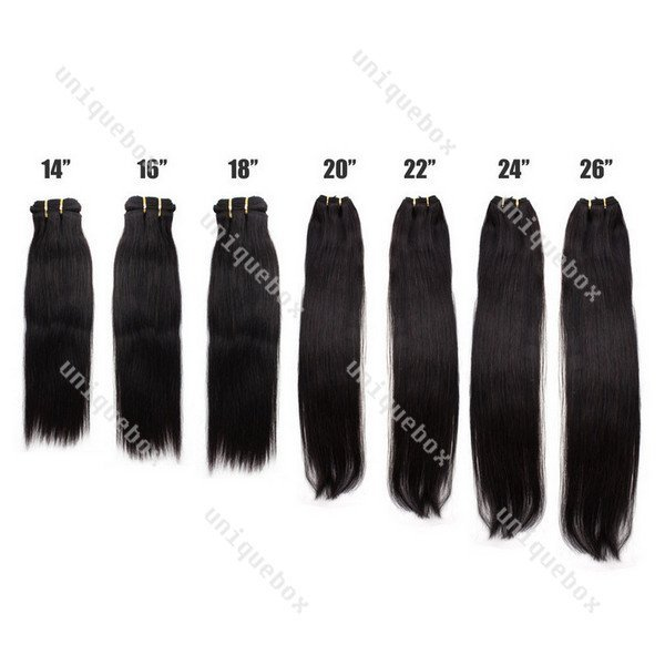 """Supply New Straight 14""""-26"""" 100% Hair Weaving Weft Extensions #1B Black"""