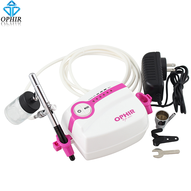 Фотография OPHIR White Cake Airbrush Kit Mini Air Compressor 0.35mm Dual Action Airbrushing Gun for Makeup Hobby Tattoo Nail#AC094+AC072