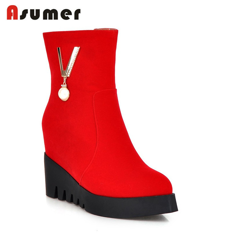 2016 keep warm hot sale nubuck leather zip ankle boots wedges high heels sexy pointed toe black red platform women boots<br><br>Aliexpress