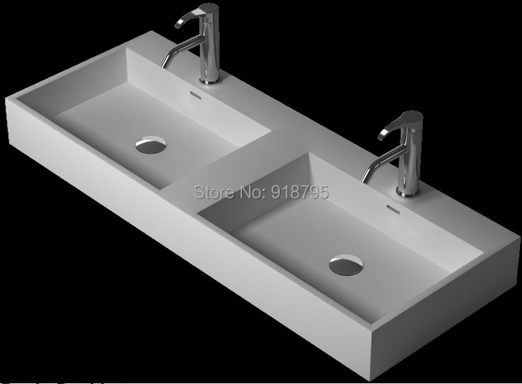 1200mm Long Corian Under Counter Wash Sinks Rectangular Solid surface Stone  Double Vessel Basins RS38347(