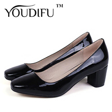 2016 New Spring/Autumn Genuine Leather Woman Shoes Patent Leather Spike Heels Office Career Shoes Cow Muscle Women Shoes Pumps(China (Mainland))