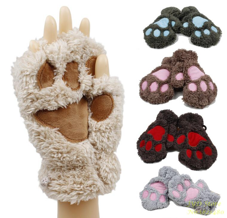 Free Shipping Fluffy Bear/Cat Plush Paw/Claw Glove Novelty Halloween Soft Toweling Half Covered Women's Gloves Mittens 18013(China (Mainland))
