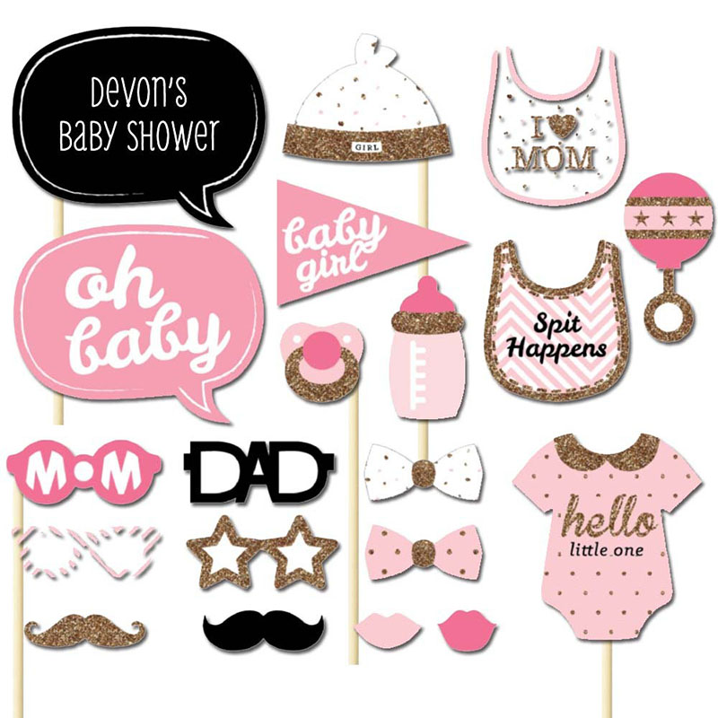 Set of 20 Baby Shower Girl Photo Booth Props on A Stick DIY Kits Fun Favor Gifts Baby Shower Party Decoration Accessories(China (Mainland))