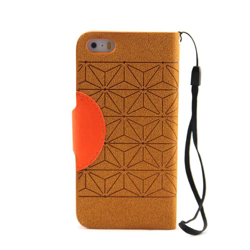 Diamond Stripes Brown And Orange Mobile Leather Case For iPhone 5S, Stand Case And Cover With Hang Bell And Card Holder(China (Mainland))