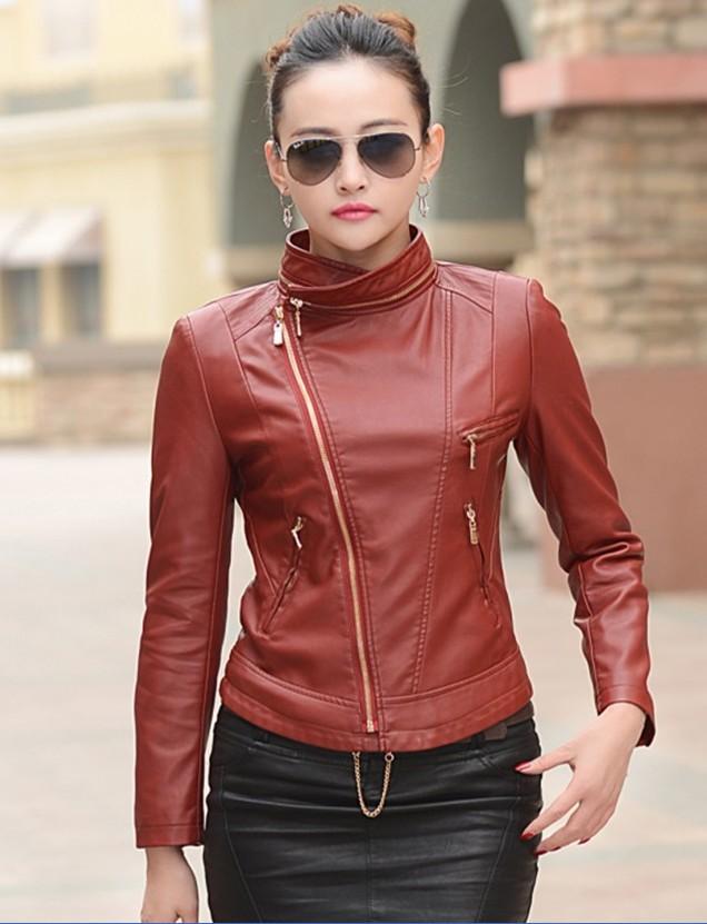 Dark brown leather jackets for women