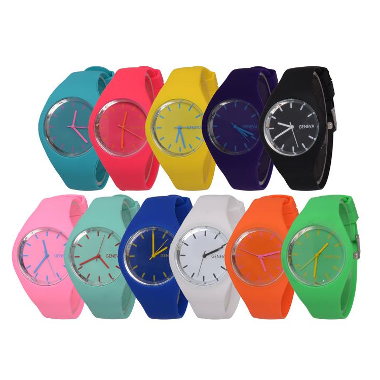 Free shipping 2016 Fashion Ice cream color Ultra-thin fashion gift silicone watch Geneva silicone Wristwatch W212(China (Mainland))