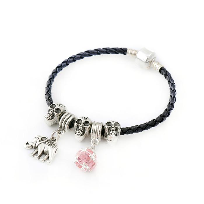 New Fashion European Style Charm 925 Sliver Plating Sample Skull And Elephants Chamilia Women DIY Black Bracelet Jewelry SL1107(China (Mainland))