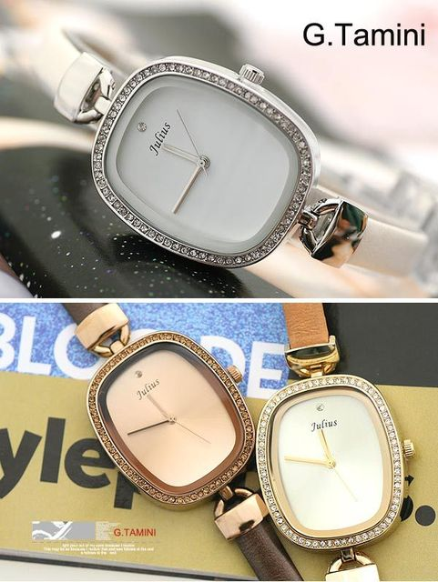 Famous brand fashion european vintage luxury woman dress bracelet watch with crystal sport timepiece waterproof leather strap