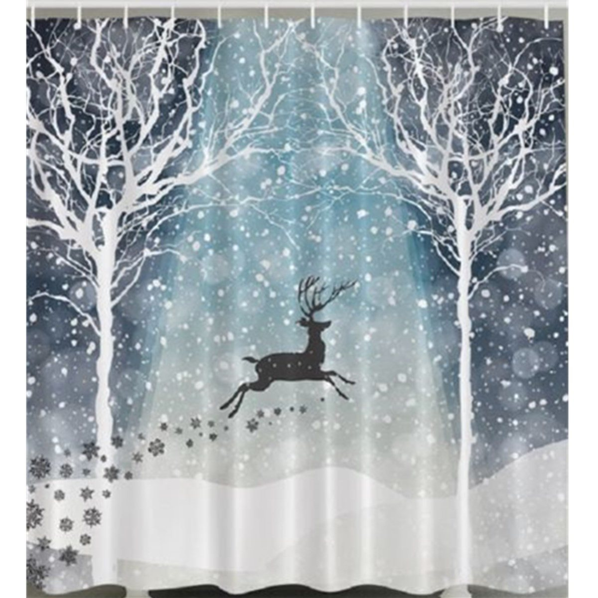 Reindeer Forest Snow Shower Curtain Polyester Fabric Bath Cover Christmas Holiday Trees Bathroom