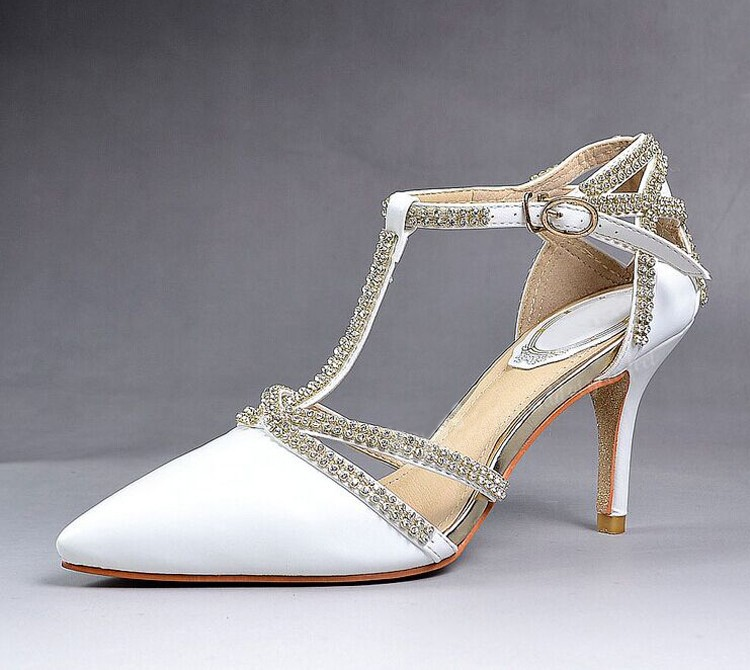 New Sexy Womens Party Valentines Shoes White T-Strap Rhinestone Heels Pointed Toe Pumps Woman Wedding Bridal Wedding Dress Shoes(China (Mainland))