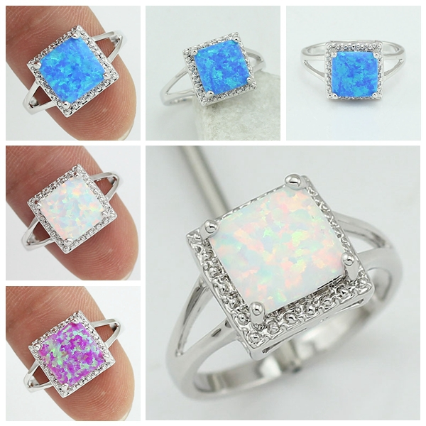 Free Shipping Wholesale Retail Silver Plated Four Claw Inlay White Pink Blue Fire Opal Rings Size 6 7 8 9(China (Mainland))