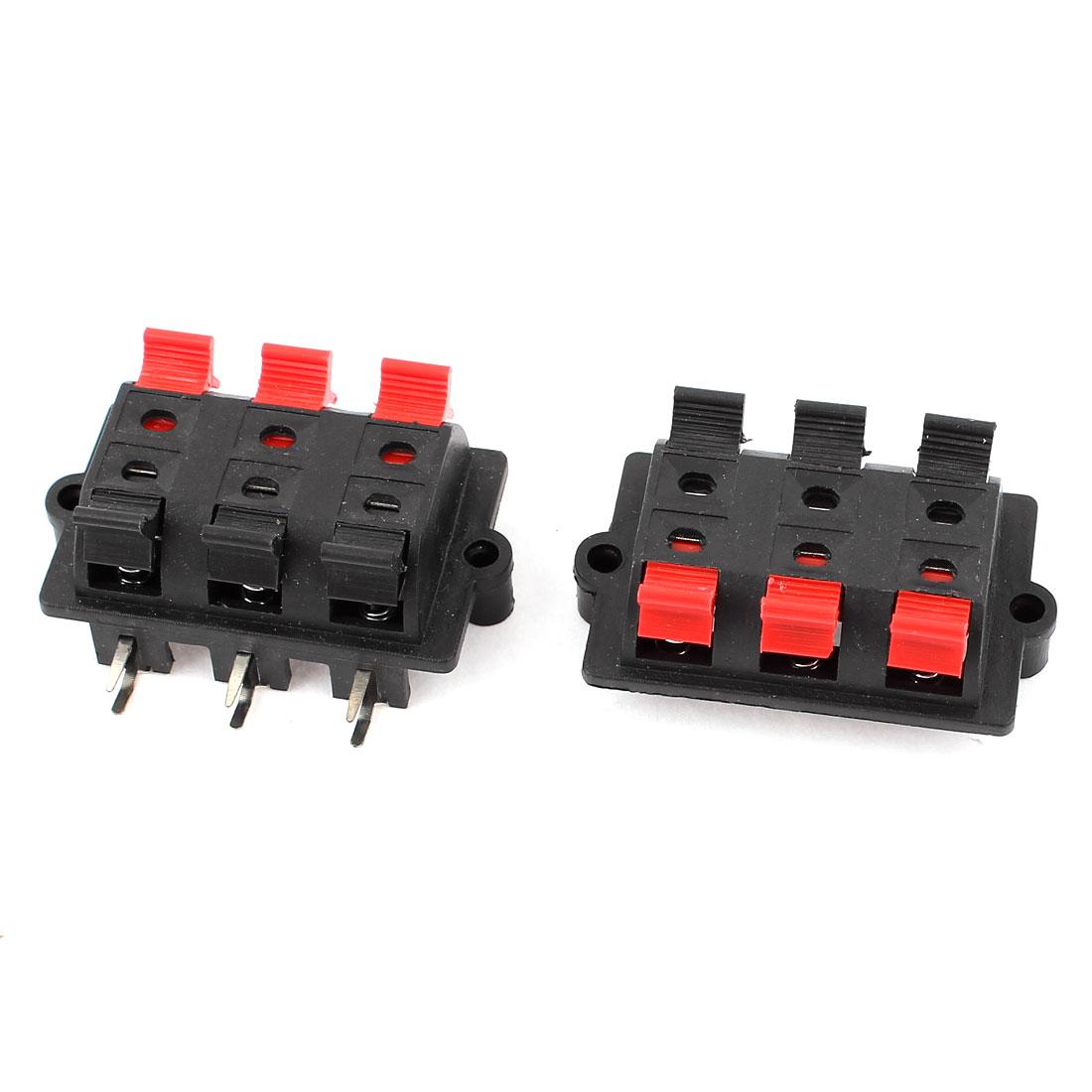 2pcs 6 Way Spring Push Release Connector Plate Speaker Terminal Strip Block(China (Mainland))