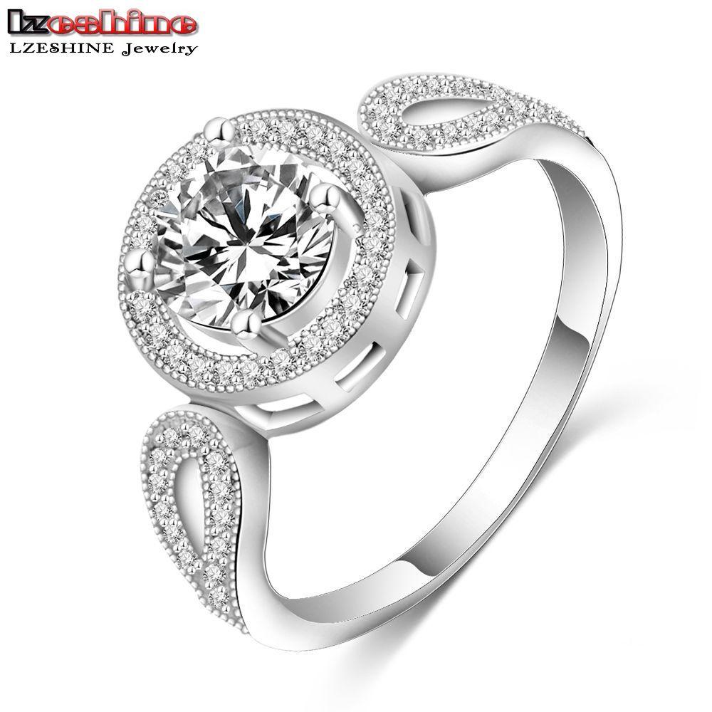 LZESHINE Unisex Rings Platinum Plated Pave Setting Cubic Zirconia Fashion Punk Big Round Shape Jewelry Rings for Party CRI0149-B(China (Mainland))