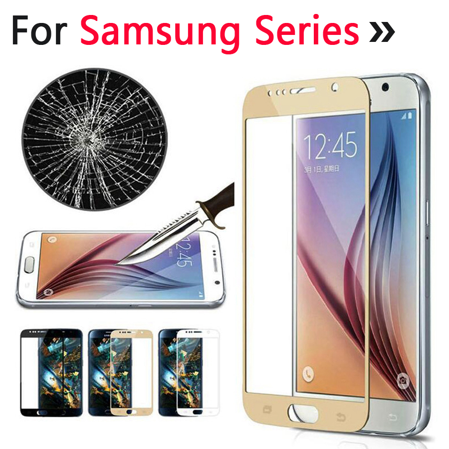 3D Full Cover Tempered Glass Screen Protector Samsung Galaxy A3 A5 A7 2017 J2 J5 J7 Prime A510 A710 Note 4 5 S6 S7 Film Case