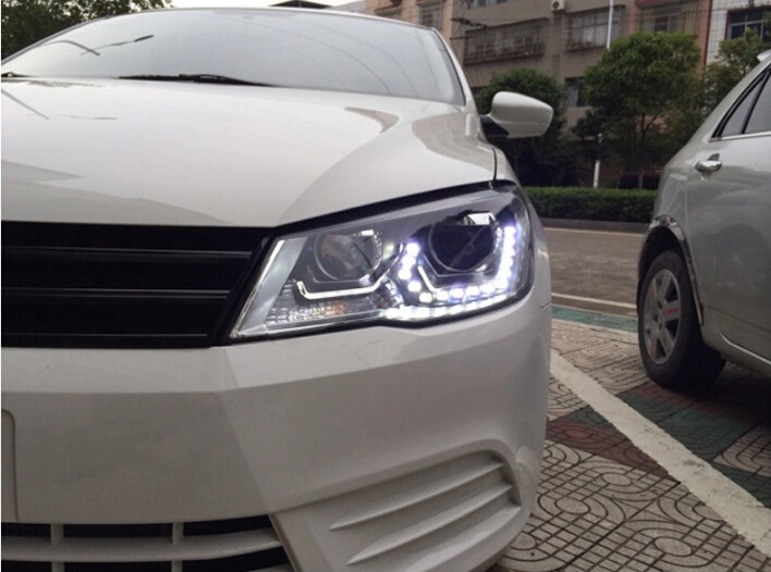 Auto Clud 2013,2014,2015 vw jetta MK6 headlights LED car styling 15 LED DRL Q5 bi xenon lens parking xenon H7 VW jetta head lamp