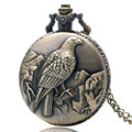 Eagle Pattern Bronze Pocket Watch Men Women Vintage Quartz Watches with Necklace Chain Free Shipping