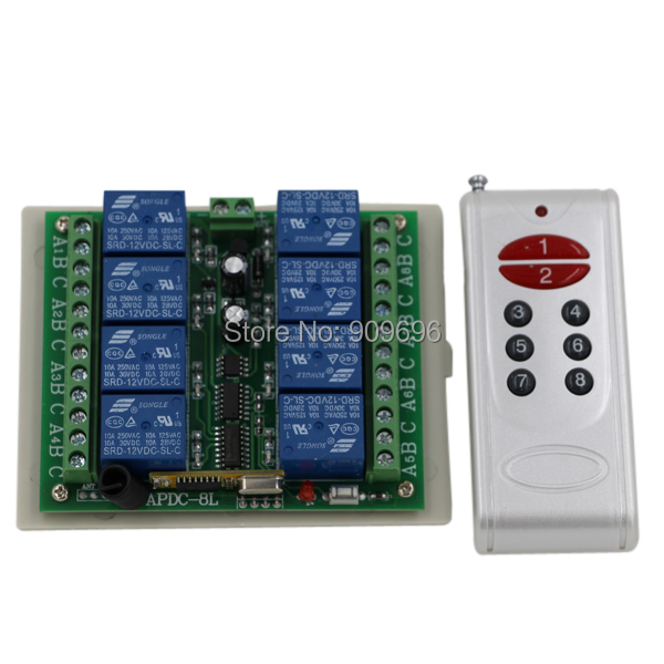 8 channel radio remote control/remote control DC12V 8ch 8 relays remote control transmitter with receiver(China (Mainland))