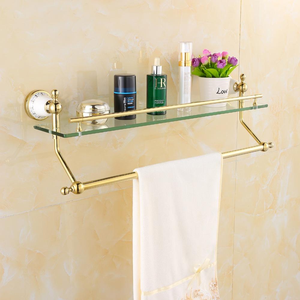 Golden Polished Porcelain Towel Rack Bathroom Accessories Towel Holder Towel Shelf Towel Bar& Hook With Glass Wall Mounted(China (Mainland))