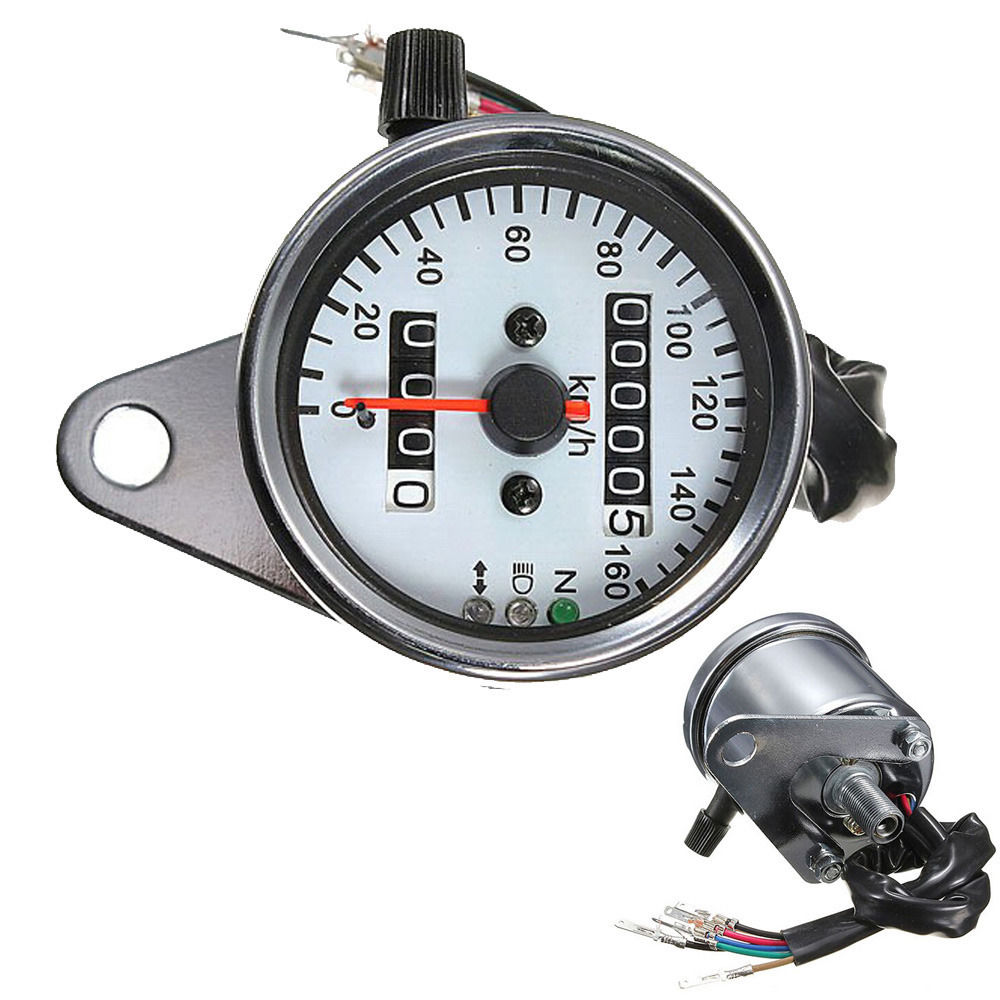 E support Universal Motorcycle Accessories Dual Odometer Speedometer Speed Gauge LED Backlight XY01(China (Mainland))