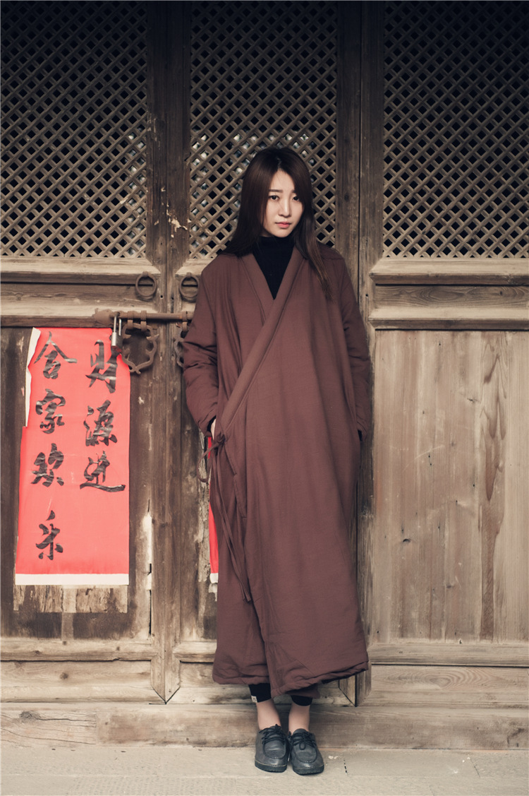 Скидки на Женщины Китайский Стиль Мягкий Длинный Плащ И Пиджаки Хлопок Белье Строка Свободные Ретро Сплошной Цвет Мягкий Шинель Зима