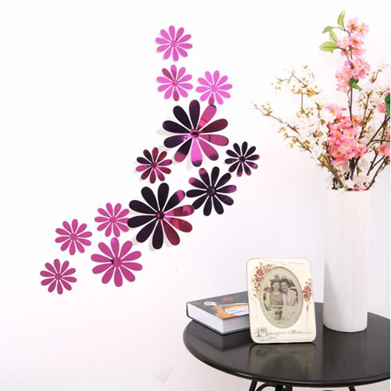 1SET Mirror Chrysanthemum Flower Wall Stciker 3D Adhesions Kids Room Decorative Vinyl Wall Decals PVC Home Decoration Bedroom(China (Mainland))