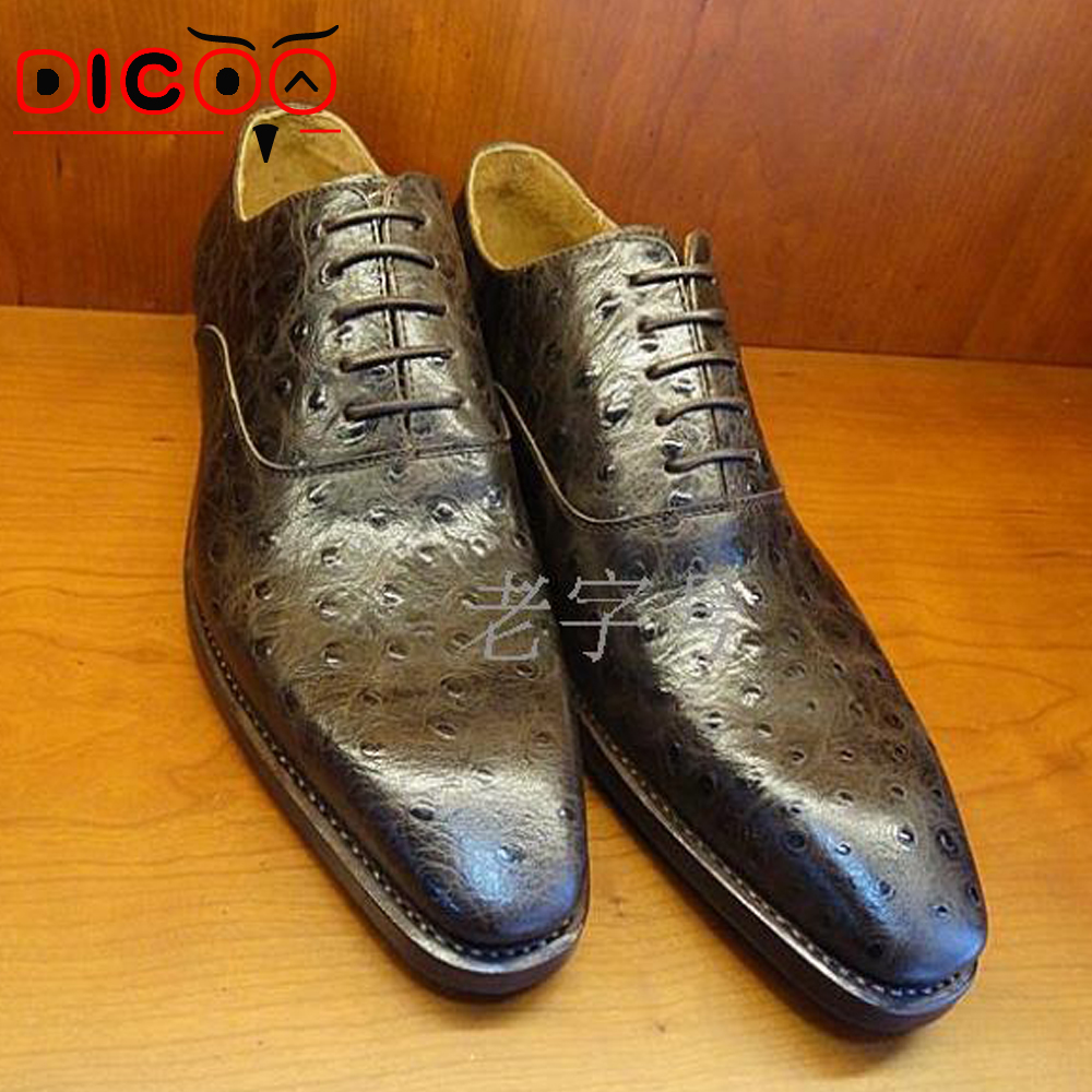 Mens Bespoke Goodyear Shoes Italian Handmade Mens Ostrich Dress Shoes Elegant Grooms Wedding Shoes France Boss Oxfords Shoes(China (Mainland))
