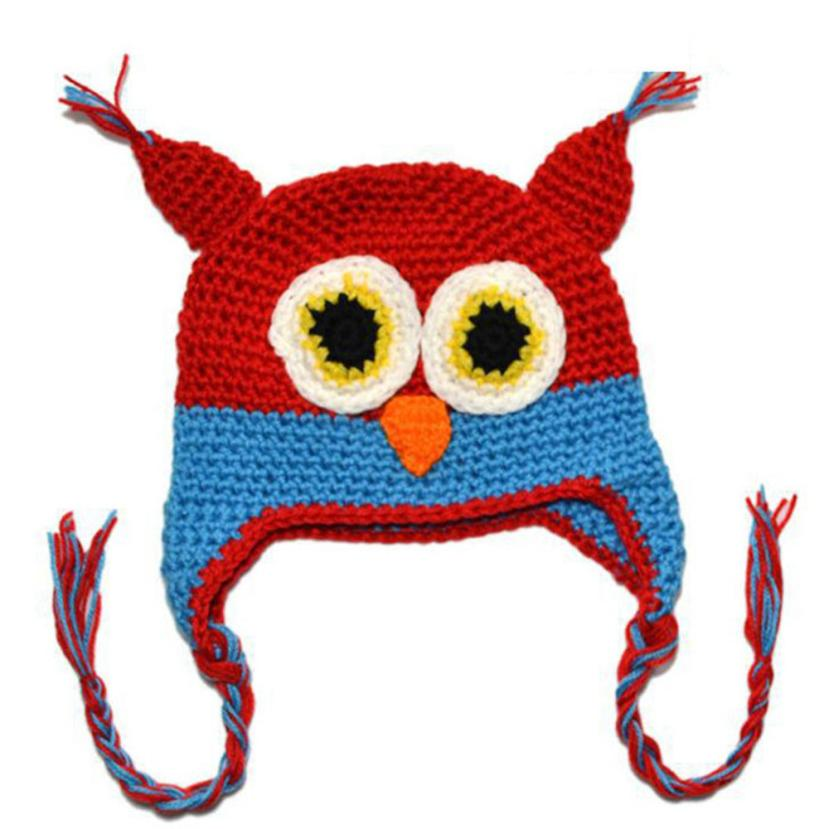 hot baby hat 2016 Baby Girl Toddler Owls Knit Crochet Winter Hat Cap newborn baby photography props winter baby hat kids hats(China (Mainland))