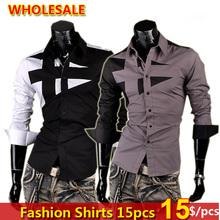 Wholesale 15 pcs NEW Mens Fashion Cotton Designer Cross Line Slim Fit Dress man Shirts Tops Western Casual S M L XL 8397(China (Mainland))