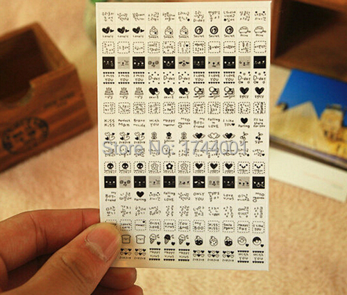 Decorative Stickers Creative Expression Black and White Graffiti Post Mood Diary To Stick 2 pack(China (Mainland))