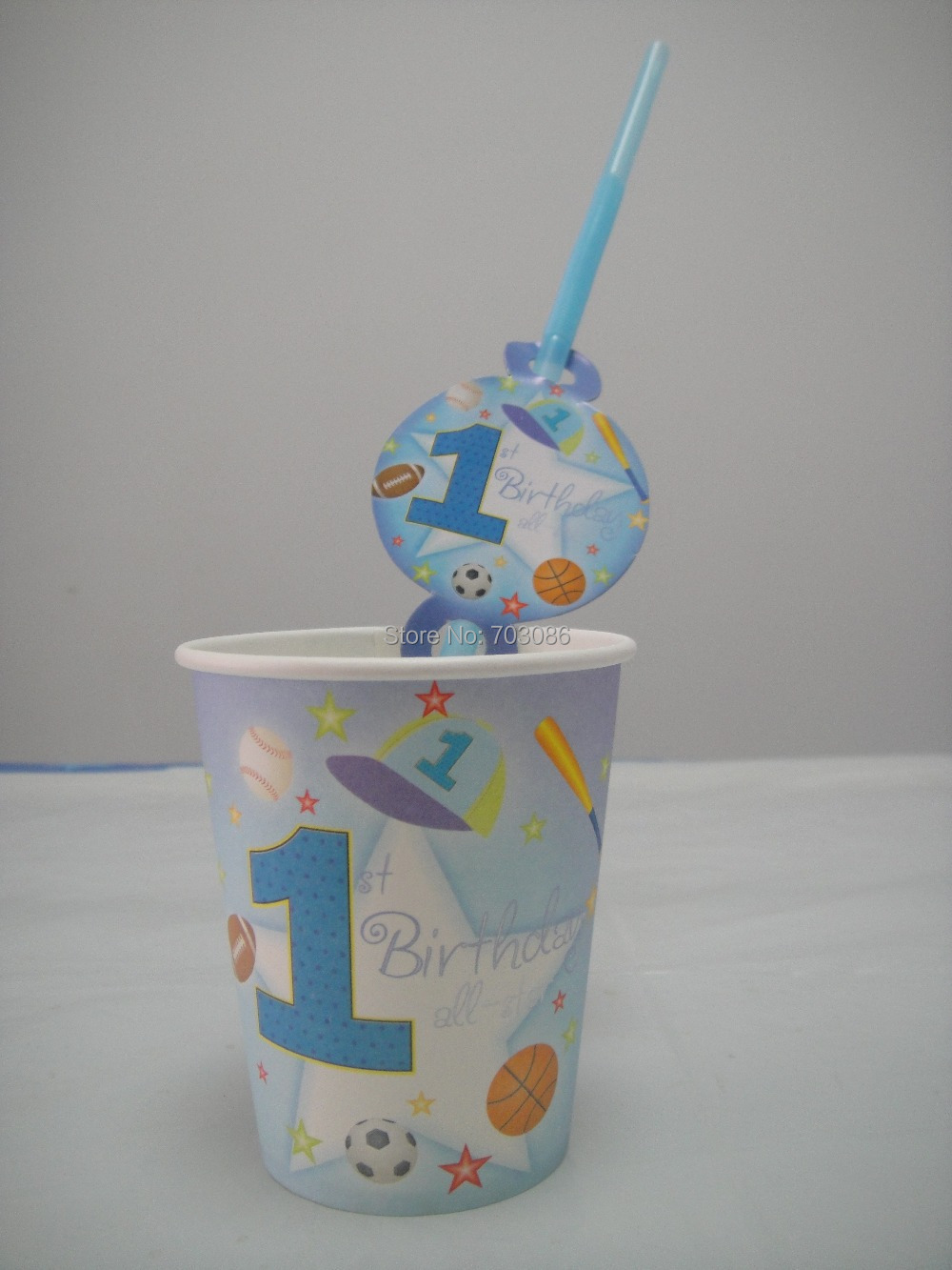 1 year old boy paper cup + theme straw tableware for birthday,party drinking cup*50pcs+straw 50pcs(China (Mainland))