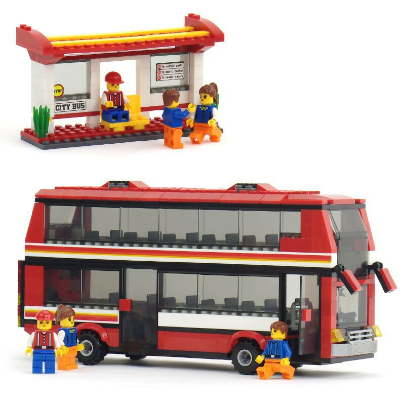 46City Double-decker Bus Building Blocks Set Model Car Bricks toys Compatible Legoe minifigures - Monny Baby store