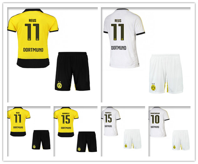 Free Custom 2016 Borussia Dortmund kits REUS soccer football jersey Uniforms BVB soccer HUMMELS 15/16 embroidery logo(China (Mainland))
