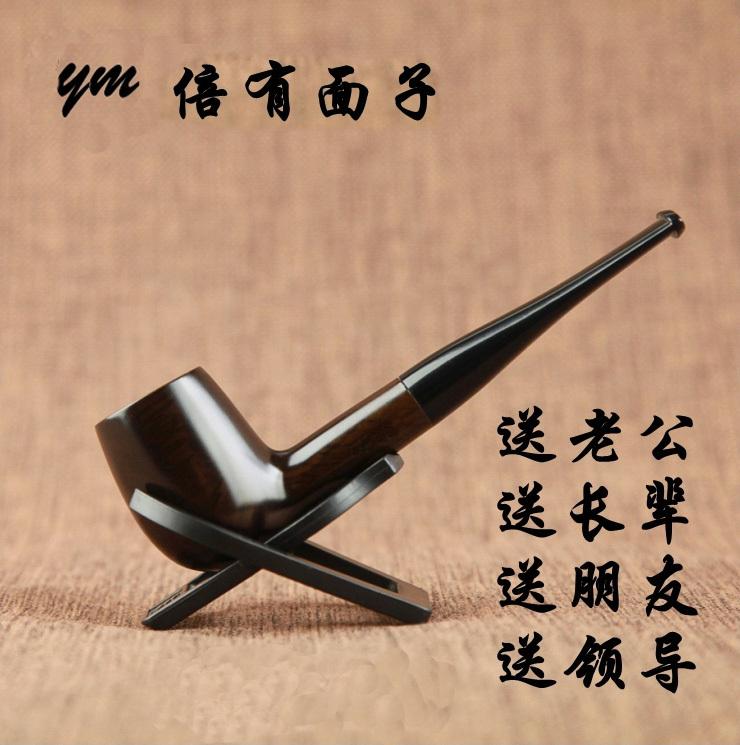 Straight Ebony Wood Pipe Smoking Pipe Handmade Black Wooden Tobacco Pipe Smoking 9mm Filter Send Smoking Fittings(China (Mainland))
