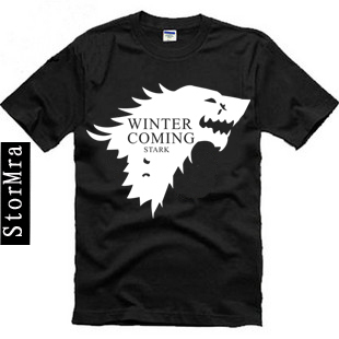 A Song of Ice and Fire Game of Thrones House Stark Winterfell Wolf Tee Shirt Winter Is Coming Game Of Thrones Stark T Shirt