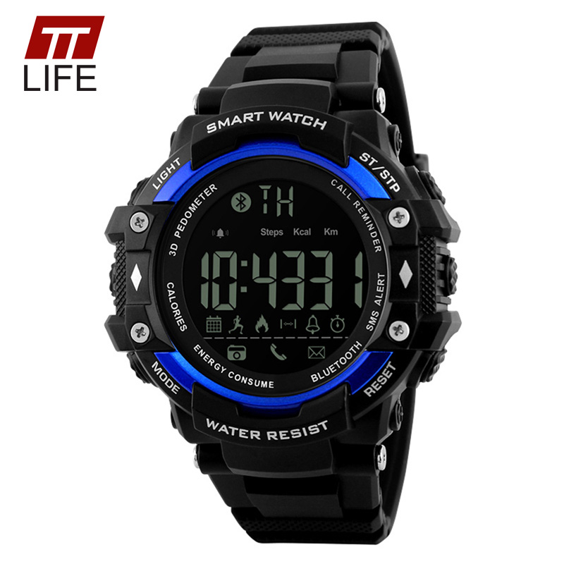 TTLIFE Pedometer Bluetooth Watch Men 50M Water Resistant App Remind Remote Camera Backlight Date Digital Display Watches for Men(China (Mainland))