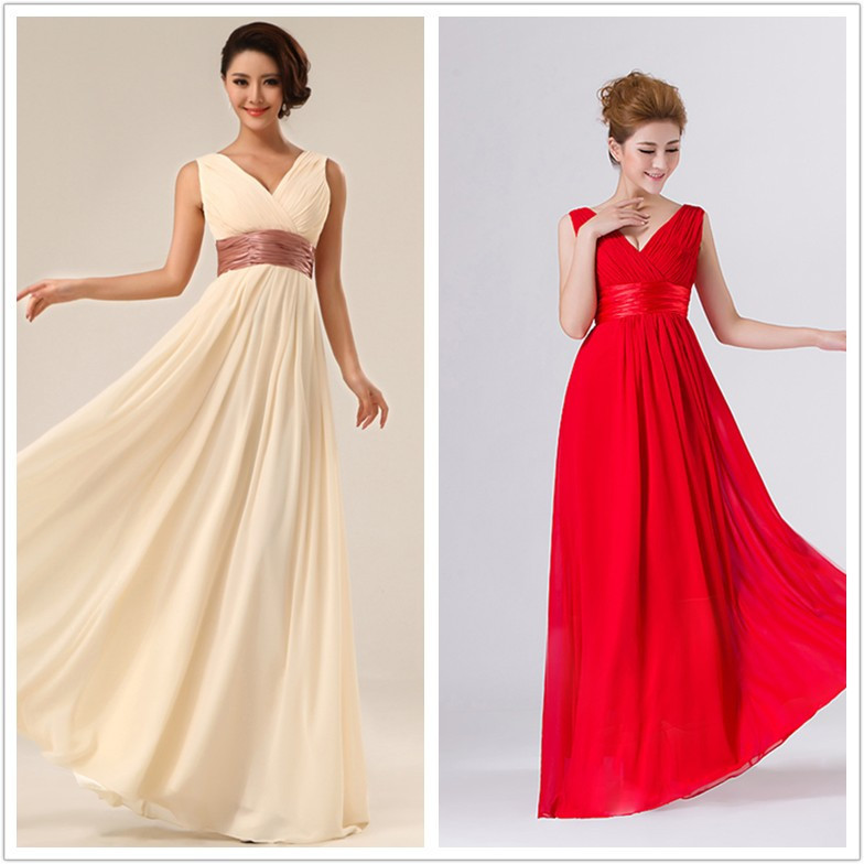 2015 New Fashion V-Neck Chiffon Long Evening Dress Double-Shoulder champagne red pink Pleat sashes prom party evening dresses - Bigdream Store store