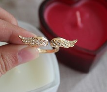 18K Gold plated Angel wings Opening Adjustable Rings For New 2015 Fashion Jewelry Anillos