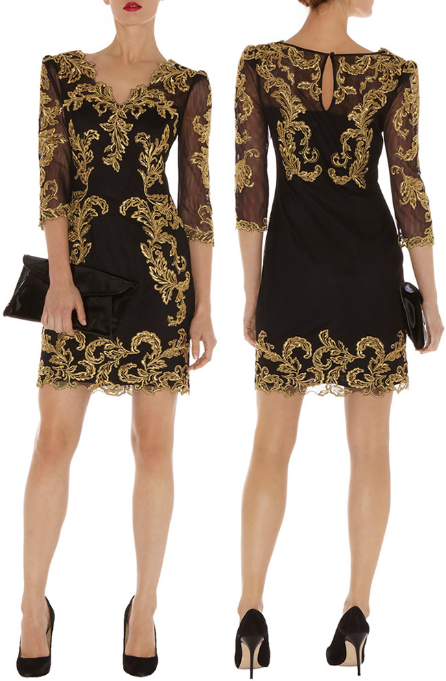 Free shipping  Women dress Metallic gold lace embroidered min Baroque mesh dress long sleeve sleeve DP274Одежда и ак�е��уары<br><br><br>Aliexpress