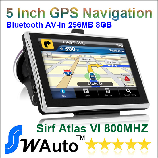 "5"" Apical Car gps bluetooth AV IN 256M RAM and 8GB Memory GPS Navigation Sirf Altas VI 800MHZ-CPU Free Russia Europe World Maps(China (Mainland))"