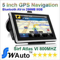 "5"" Car gps with bluetooth AV IN 256M RAM and 8GB Memory GPS Navigation Sirf Altas VI 800MHZ-CPU Free Russia Europe World Maps"