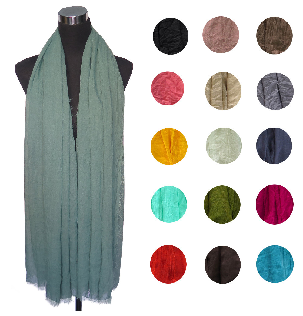 Super Large! Frayed Edges Solid Color Plain Women's Scarf Shawl Hijab Head Wrap, Free Shipping(China (Mainland))