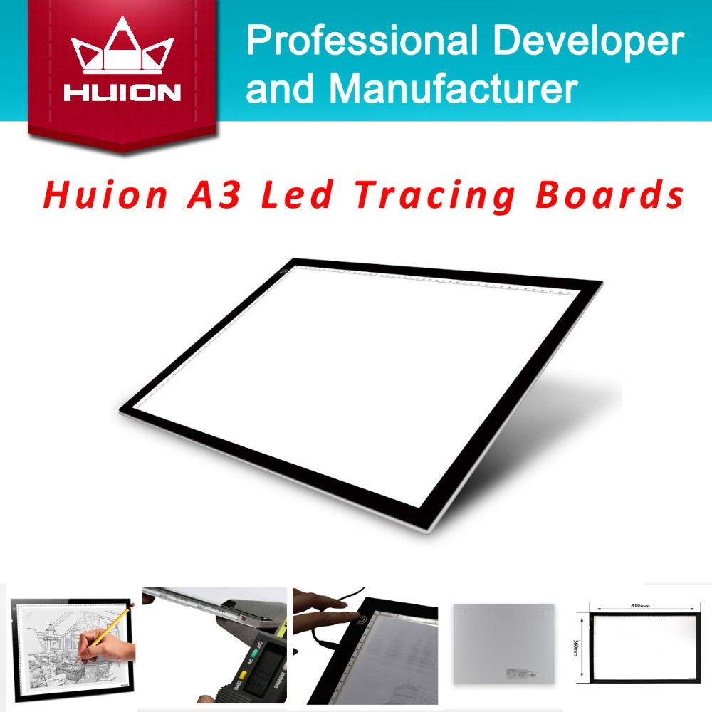 New Huion A3 LED Tracing Boards Acrylic Panels Professional Tattoo Light Pad Animation Cartooning Light Boxes Handwriting Boards(China (Mainland))