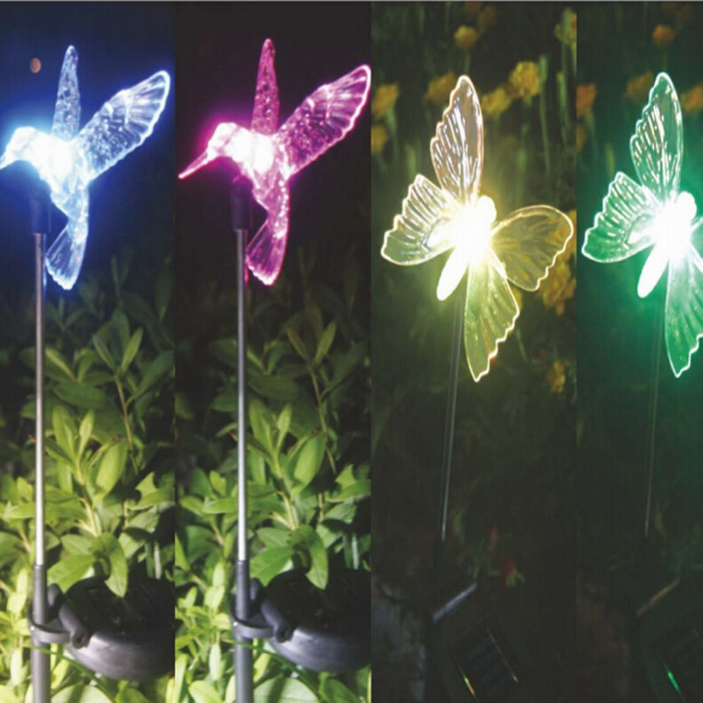 Cute Hummingbird Butterfly Dragonfly Shape Solar Powered Outdoor Garden Light Multi-color Changing LED Light Set Decoration(China (Mainland))