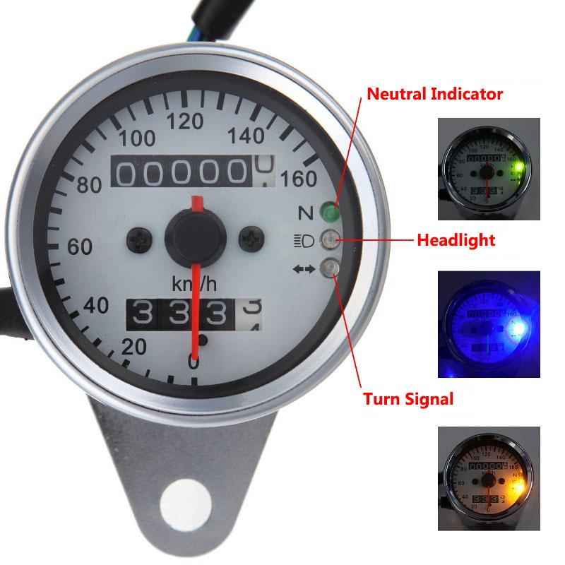 Silver Stainless Steel Lightweight Portable Circle Motorcycle Backlit Dual Speedometer Built In Small Odometer For Moto Bikes(China (Mainland))